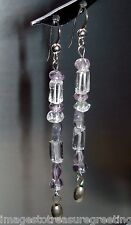 Long delicate dangly silver pierced earrings, w amethyst, rock crystal, etc