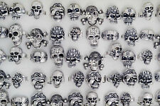 Wholesale 5pcs Rhinestone Skull Carved Biker Men Woman Silver Plate Ring FREE