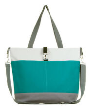 Teal and Gray Color Block Diaper Tote Bag by White Elm The Moxie - NEW W/ DEFECT
