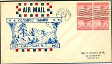 USA Olympische Spiele Olympic Games 1932 block of 4 on FDC skating cachet.