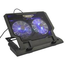 "10-17.4"" Tablet Laptop 2 Fan USB LED Cooling Cooler Stand Adjustable Pad HK"