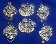 Set of 6 Silver Alloy Charms-ASSORTED MASKS-CARNIVAL-MARDI GRAS-HARLEQUIN CLOWN