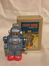 Vintage Japan Antique Tin Toy Robot Sanko Seisakusho Wind up Blue Unused Mint