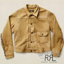 $2200 RRL Ralph Lauren Vintage TAN FRINGED DEERSKIN LEATHER JACKET COAT-MEN-L