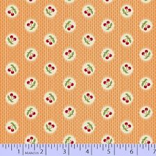 By 1/2 yd~AUNT GRACE~6263-328~red cherries in circle on orange-30s~Marcus Fabric