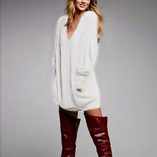 Womens Loose Cotton V-Neck Tops Long Sleeve T-Shirt Casual Blouse Pullover Dress