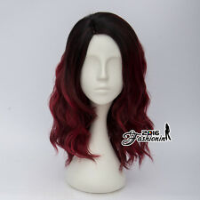 Lolita Style Black Mixed Wine Red Medium 40CM Curly Fashion Party Cosplay Wig