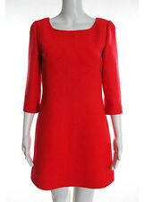 NWT COURREGES Orange Red Scoop Neck Long Sleeve Dress Sz 40