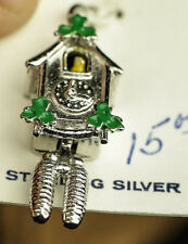 COO COO CLOCK CHARM / PENDANT CHARM .925 STERLING SILVER GREAT DETAIL WELLS