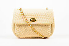 Vintage Bally Cream Gold Tone Leather Chain Link Shoulder Bag