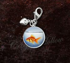 925 Sterling Silver Charm Orange Goldfish in Fish Bowl