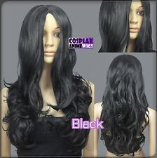 60cm Black Heat Styleable No Bang Curly wavy Cosplay Wigs 38_001