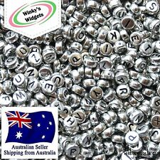 FAST SHIPPING 30g (about 250 pcs) Alphabet Letter bead Round 7mm BLACK ON SILVER