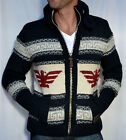 SUPERDRY Men's Big Zip BUFFALO Knitted Cardigan - Sweater - NEW - Navy Blue