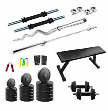 Fitfly Combo Home GymSet 20kg Weight + Flat Bench +3ft Curl Rod+3ft Plain Rod