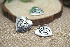10pcs--Baby Feet Charms, silver Baby Feet in Lovely Heart pendants 20x22mm