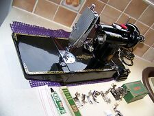 STUNNING SINGER 221K FEATHERWEIGHT SEWING MACHINE,PRISTINE VIBRANT GOLD DECALS