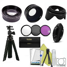 WIDE ANGLE LENS + ZOOM LENS + FLEX TRIPOD + FILTERS FOR NIKON D3100 D3200 D3300