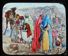 Glass Magic Lantern Slide MANNA GIVEN C1900 LIFE OF MOSES RELIGION