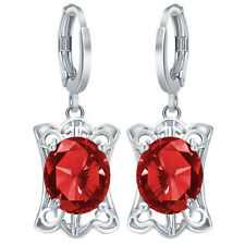 Women's Fashion 925 Silver Ruby Gemstone Dangle Hoop Earrings Engagement Jewelry