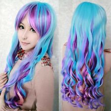 New Long Rainbow Colors Wavy Curly Lolita Hair Full Wig Cosplay Party Costume