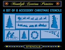 Primitive Stencil~Vintage Style~CHRISTMAS ACCESSORY STENCILS 2001~Santa Reindeer