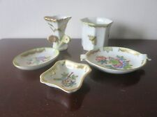 LOT OF HEREND QUEEN VICTORIA PORCELAIN ASHTRAY VASE CUP DISHES