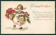Little Girl Happy New Year Greetings Clapsaddle Relief postcard cartolina QT5894