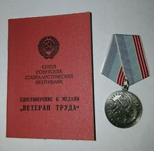 Original USSR Russian Veteran Of Labour Medal+document