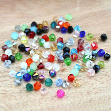 100pcs Mixed Faceted Bicone Flicker Glass Crystal Spacer Beads 4mm