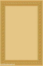 "4x6 Rug  Modern  Greek Key Design Solid Beige with Border Size 3'10""x5'1""  New"