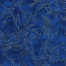 Morning Glory Humming / Blue Bird Cotton Quilt fabric Timeless Treasures Blue