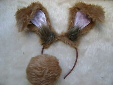 Floppy Rabbit Ears Mad March Hare Ears & Bob Tail Light Brown Fancy Dress Unisex