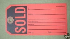 1000 red sold price tags & slit, heavy duty merchandise auction sale paper label