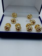 6PCS Gold clot Tuxedo Cuff links Shirt Studs Formal Set Tux Cufflinks