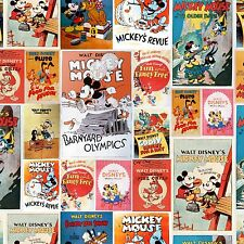 1 yard Disney Posters Mickey and Minnie  Fabric