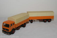 NZG N.Z.G. 146 MERCEDES BENZ TRUCK WITH TRAILER ORANGE NEAR MINT CONDITION