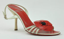 Moschino Cheap & Chic Shoes 3 (36) Red Poppy Cream Leather Heels Designer Women