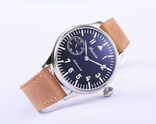 44mm Parnis 6497 Hand Winding Black Dial Silver Mark Men's Casual Watch