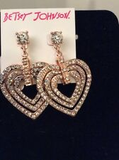 $55 Betsey Johnson Rose Gold Tone Crystal Heart Drop Earrings Brand New Design