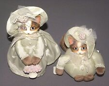 Vintage Mother & Child Cats in Green Victorian Dress Cat Figures Porcelain