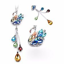 Colorful Crystal Swan Car Mirror Pendant Interior Jewelry Decor Hanging Ornament