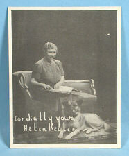 1940s Helen Keller & Akita Dog Orig Photo Card American Foundation for the Blind