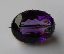 Antique Victorian 15ct Rose Gold & 38ct Amethyst Brooch