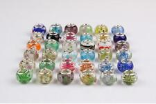 20pcs Mixed SILVER Plated Cord Glass bead LAMPWORK Fit European Charm Bracelet