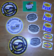 12 OIL PROMO STICKERS Mobil 1 Delvac 1300 Super,Quaker State,Pennzoil Long Life