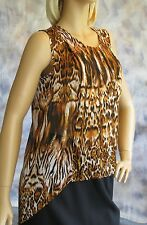 NWT Milano Animal Print Drop Tail Train Blouse Sz S Pleated Front Polyester