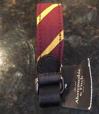 NWT Abercrombie & Fitch Men's Maroon & Yellow Striped Preppy Bracelet - One Size
