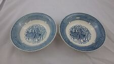 Mount Clemens China  Ironstone Made in USA - 2 Currier & Ives 7 1/4 Cereal Bowls