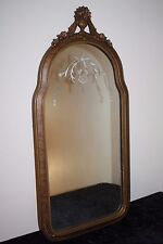 """Antique Elegant Arched Etched Carved Floral Gold & Woodgrain Mirror 29""""T x 14""""W"""